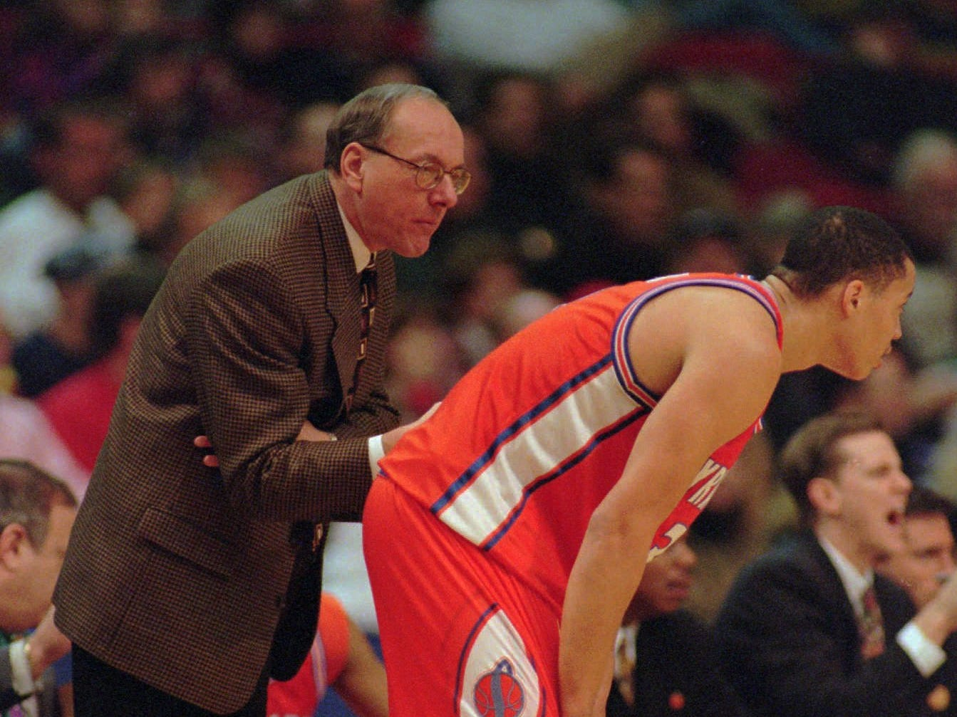 1996: Syracuse head coach Jim Boeheim talks with Todd Burgan during their NCAA West Regional final against Kansas in Denver Sunday March 24, 1996. Syracuse won the game 60-57 advancing to the Final Four.