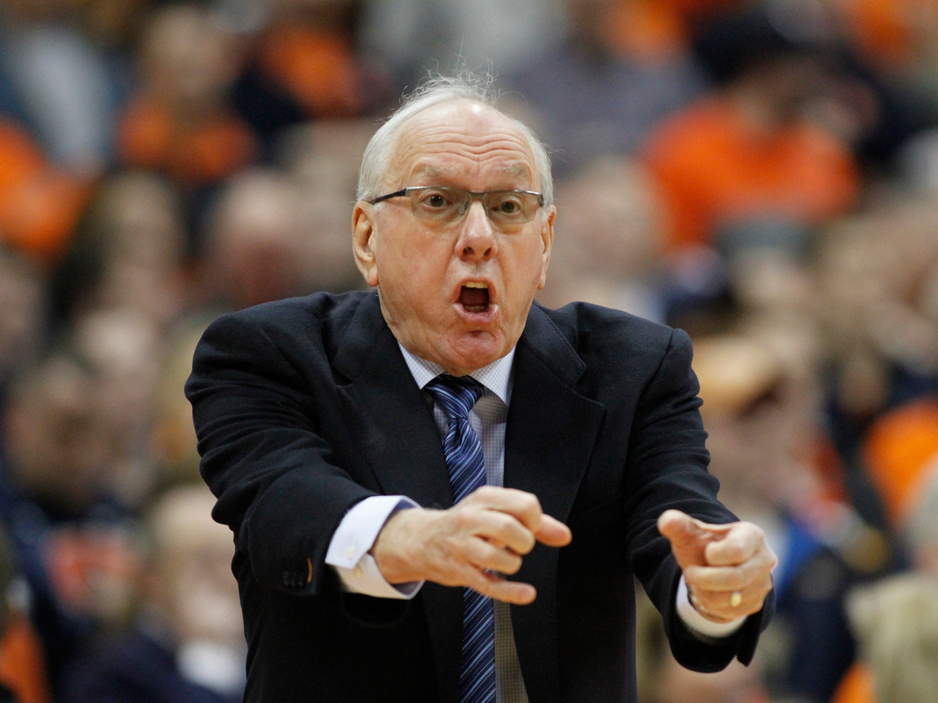 2019: Syracuse head coach Jim Boeheim yells at an official during the first half of an NCAA college basketball game against Florida State in Syracuse, N.Y., Tuesday, Feb. 5, 2019. (AP Photo/Nick Lisi)