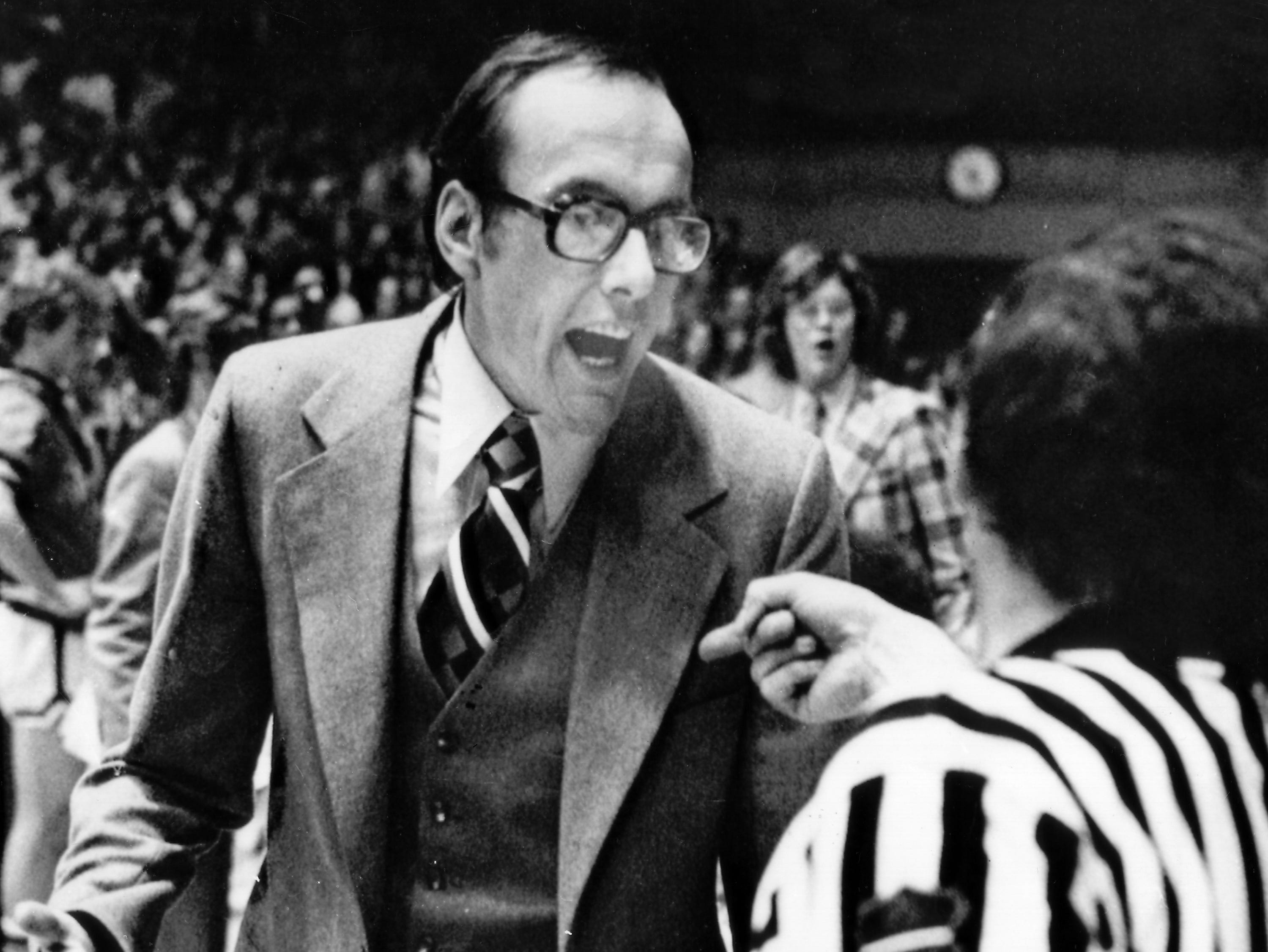 1977: Syracuse University basketball coach Jim Boeheim has his team on the verge of its winning est season ever in his first year on the job, March 4, 1977. (AP Photo)