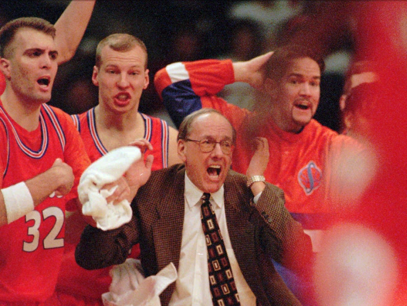 1996: Syracuse Orangemen coach Jim Boeheim reacts with his team in the final minutes of their 60-57 victory over the Kansas Jayhawks in the final game of the NCAA West Regional in Denver on Sunday, March 24, 1996.