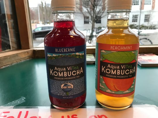 "Kombucha teas available at Kountry Kart Deli are pictured. Bernie Sanders is depicted on the first. The second could potentially be a play on the word ""impeachment."" Feb. 21, 2019."
