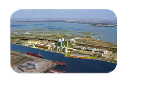 Corpus Christi Polymers is set to resume work on M&G USA's Corpus Christi plant in May. A rendering of M&G's plant is pictured.