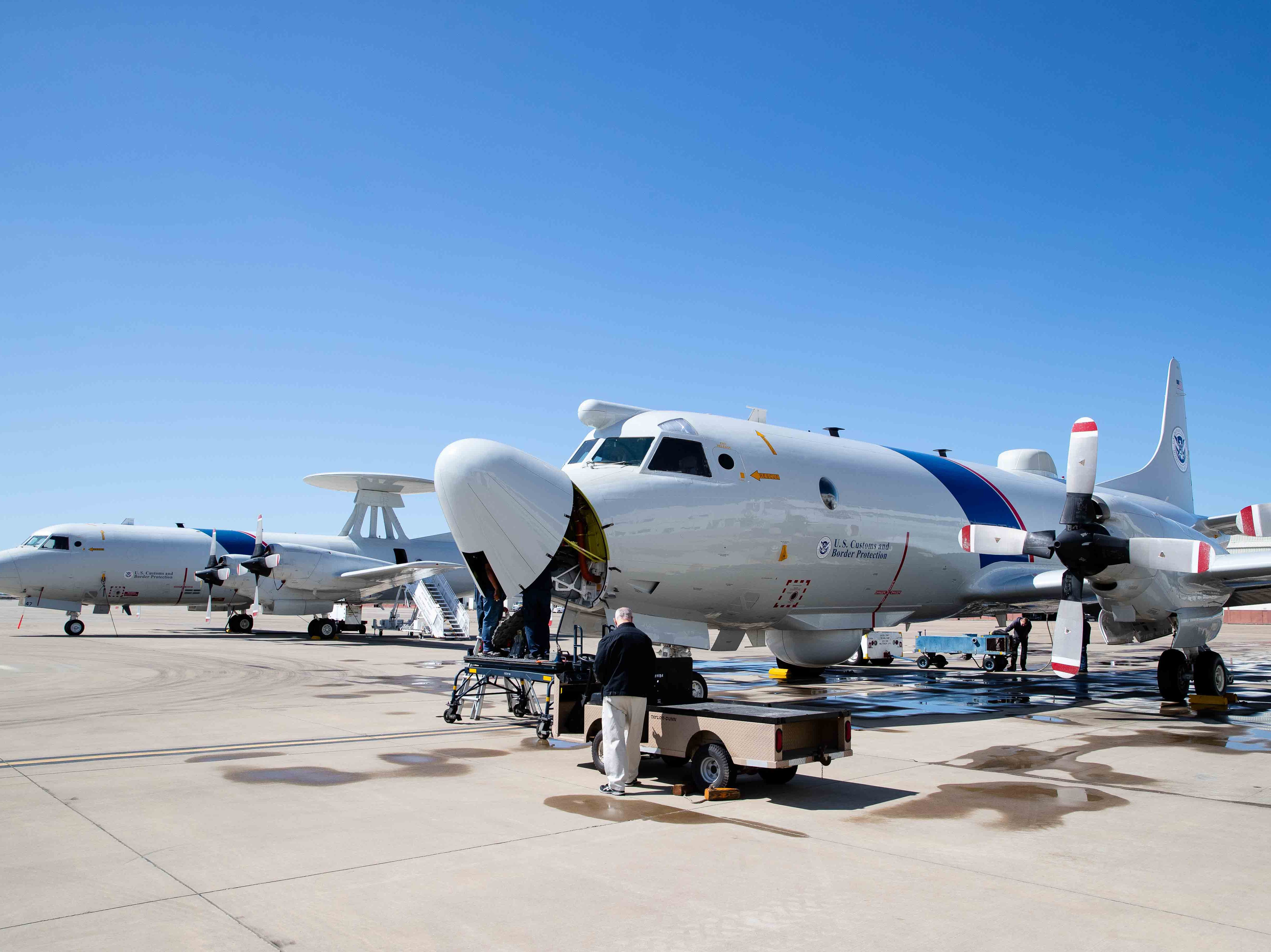 Customs and Border Protection's P-3 Orion aircrafts at their National Air Security Operations Center on Navy Air Station Corpus Christi on Wednesday, Feb. 20, 2019.