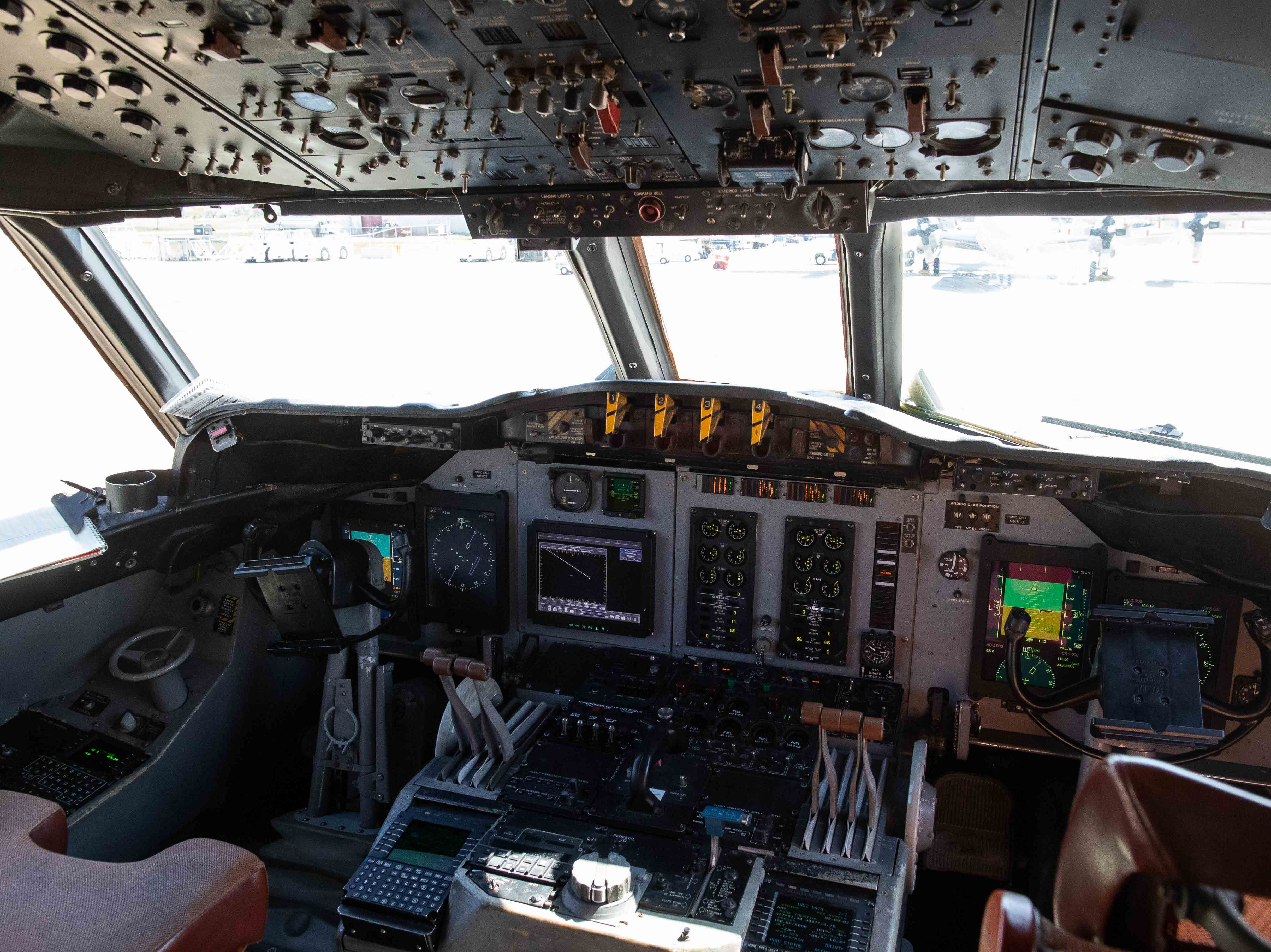 The cockpit of a Customs and Border Protection P-3 Orion aircrafts at their National Air Security Operations Center on Navy Air Station Corpus Christi on Wednesday, Feb. 20, 2019.