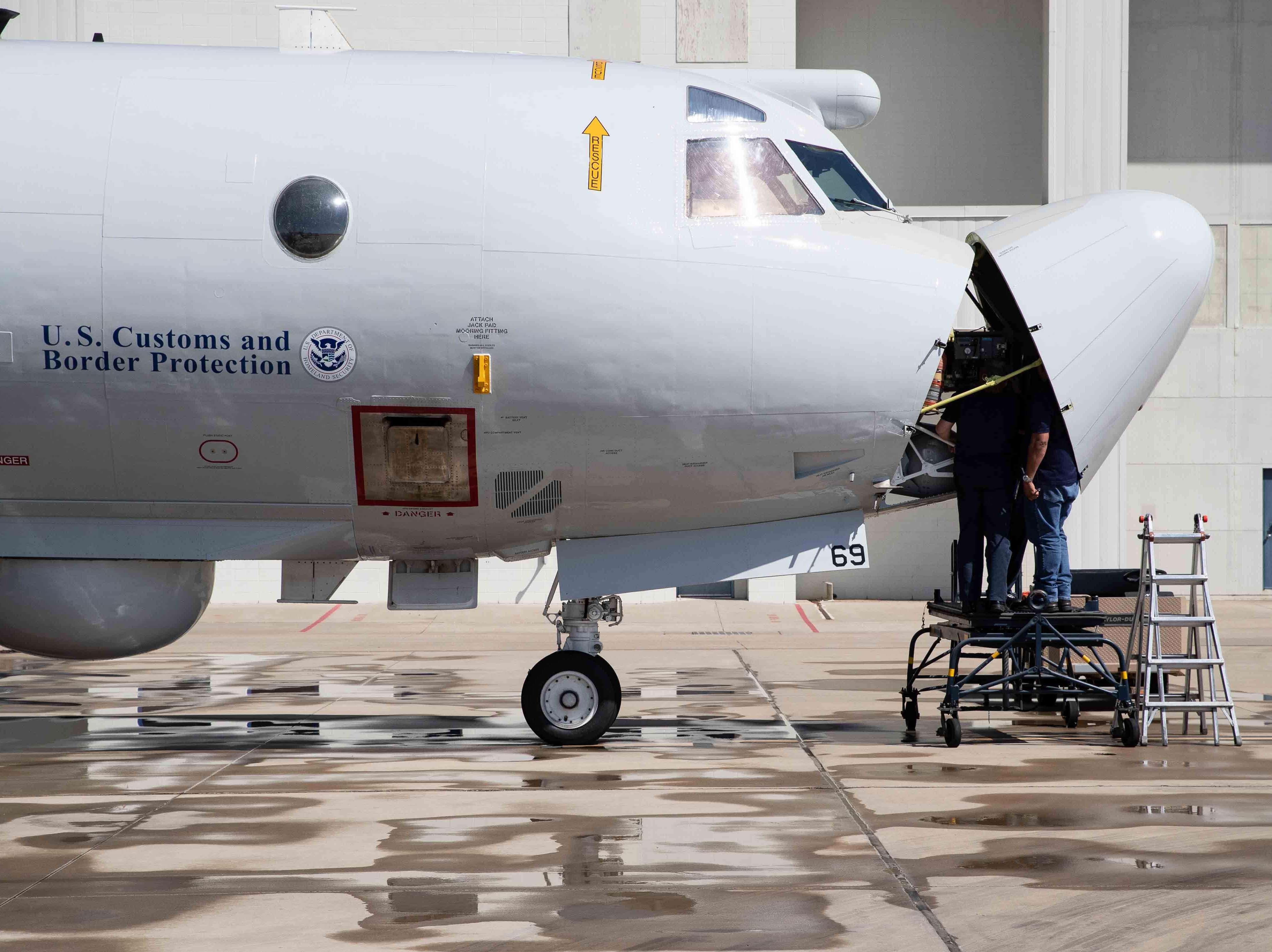 Customs and Border Protection's P-3 Orion aircraft being worked on at their National Air Security Operations Center on Navy Air Station Corpus Christi on Wednesday, Feb. 20, 2019.