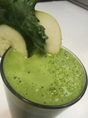 King Kale is a blend of kale, apple, cucumber, lemon, wheatgrass and ginger, among the many fresh juices at Healthy Garden Cafe.