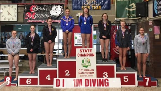 West Clermont senior diver Morgan Southall won the Division I 1-meter diving championship Feb. 21 at C.T. Branin Natatorium.