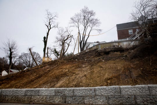 A recent landslide took out the backyard of a home on Clayton Court in Bellevue, Kentucky. A retaining wall was built on Anspaugh Avenue behind the home.