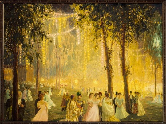 "William Samuel Horton's ""Nighttime Festivities Held by President Loubet at the Elysée Palace in Honor of Alfonso XIII,"" painted in 1905. From the collection of the Musée Carnavalet, Paris."