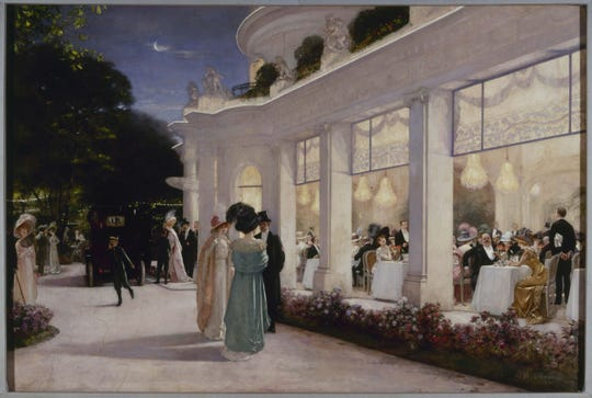 "Henri Gervex's massive 1909 painting depicts ""An Evening at Le Pré Catelan,"" a well-known and particularly posh Paris restaurant. From the collection of the Musée Carnavalet, Paris."