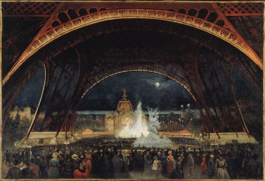 "Alexandre-Georges Roux's ""Nighttime Festivities at the International Exposition of 1889 under the Eiffel Tower,"" circa 1889. From the collection of the Musée Carnavalet, Paris."
