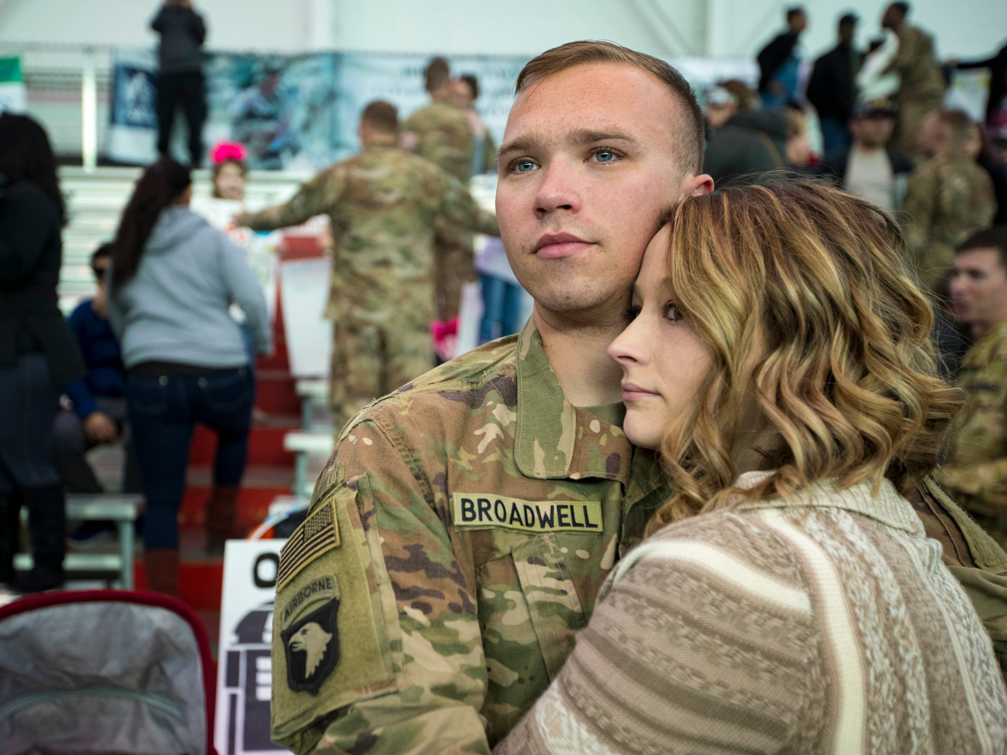 Sgt. Cary Broadwell shares a quite moment with Brooke Broadwell during a homecoming ceremony for members of the 101st Combat Aviation Brigade and 101st Sustainment Brigade at Fort Campbell in Clarksville on Thursday, Feb. 21, 2019. The soldiers were returning from a nine-month deployment to Afghanistan.