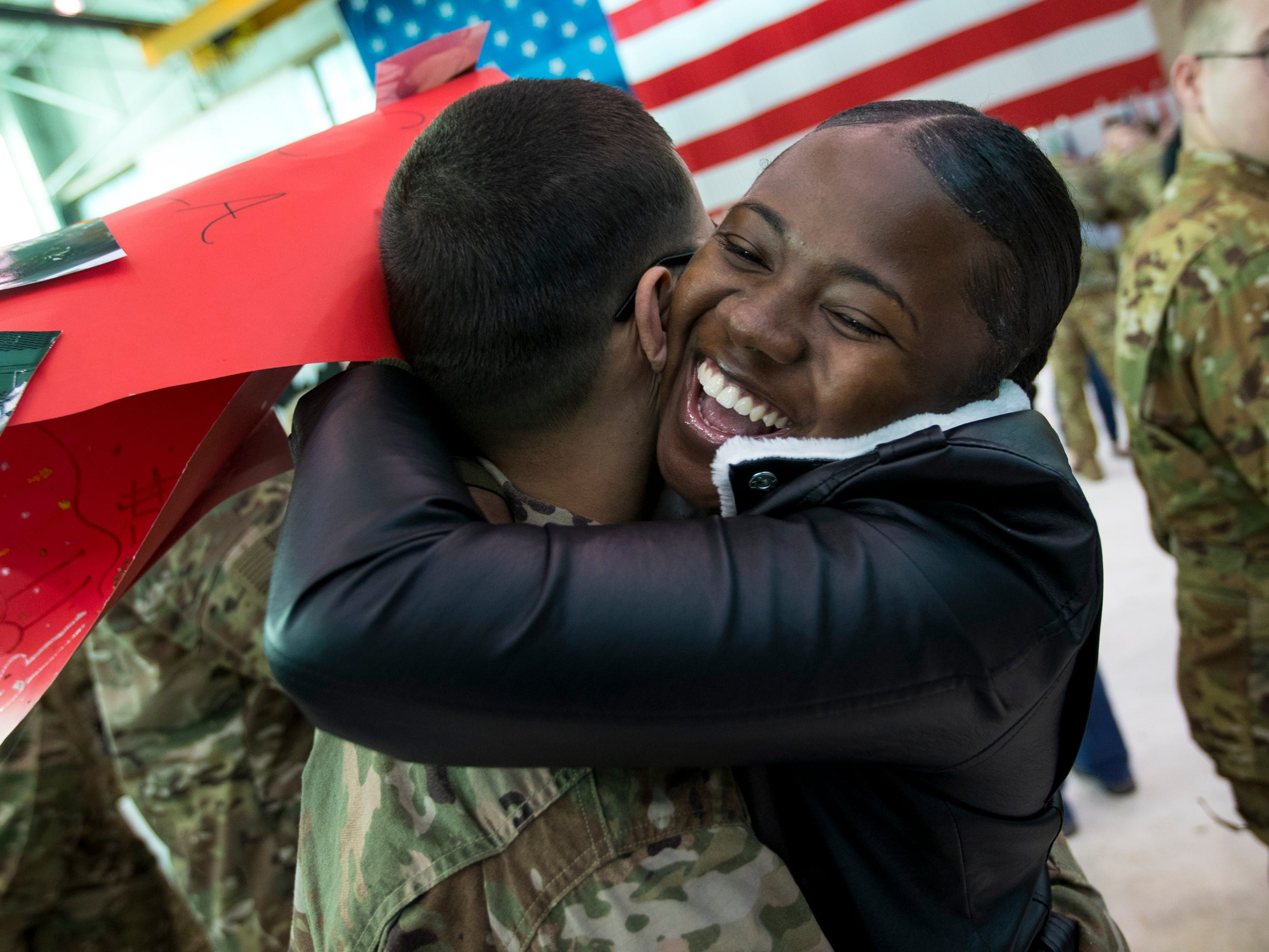 Abria Roberts embraces Spc. Marcus Davila during a homecoming ceremony for members of the 101st Combat Aviation Brigade and 101st Sustainment Brigade at Fort Campbell in Clarksville on Thursday, Feb. 21, 2019. The soldiers were returning from a nine-month deployment to Afghanistan.