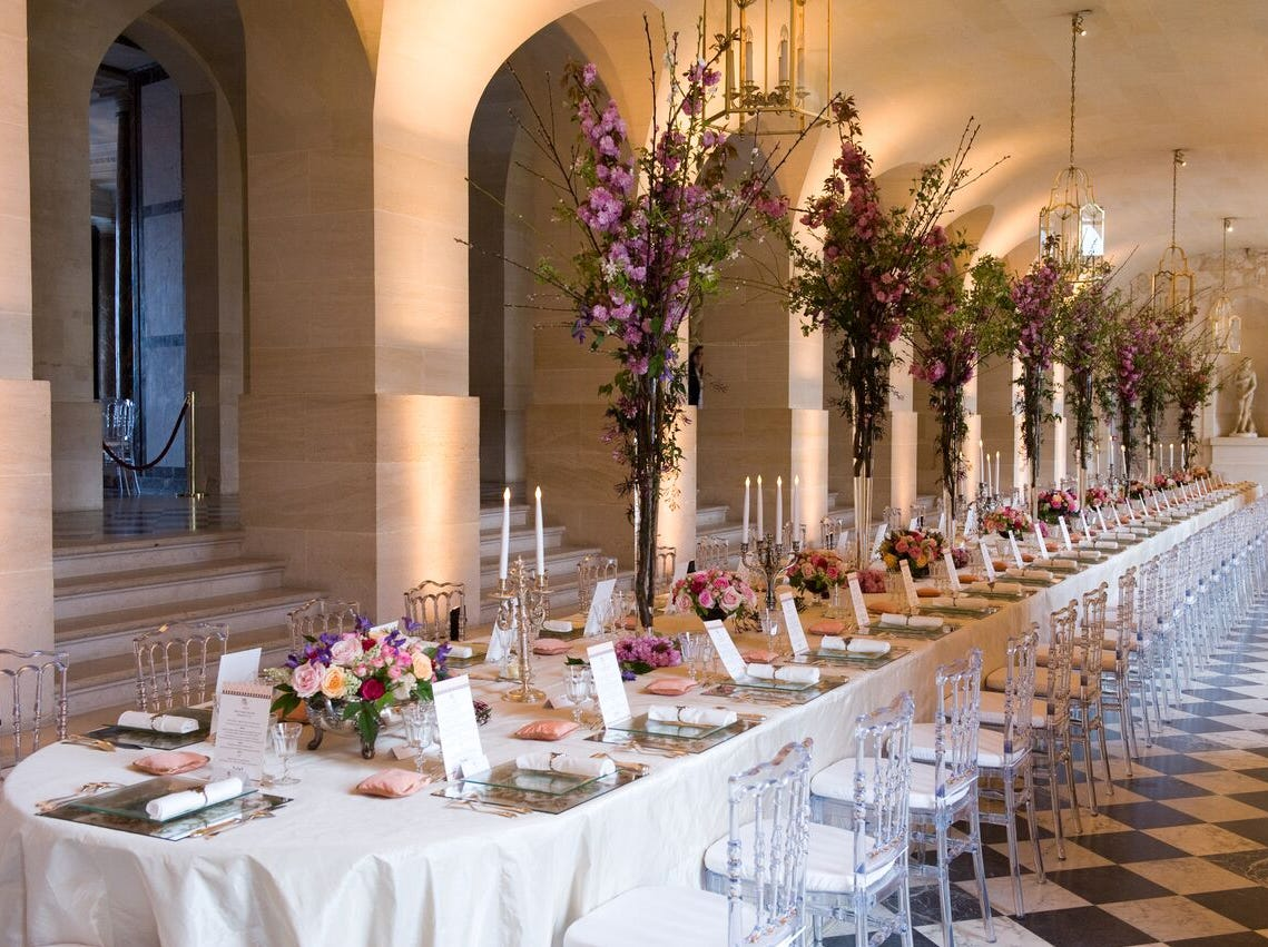 Last year, global event planner Edward Perotti managed more than 2,000 events around the world last year — ones that includedperformancesby Ariana GrandeandNick Jonas and atspaces such as theLouvre,thePalace of Versailles (pictured), theBasilica Cistern in Istanbul andtheGreat Wall of China.
