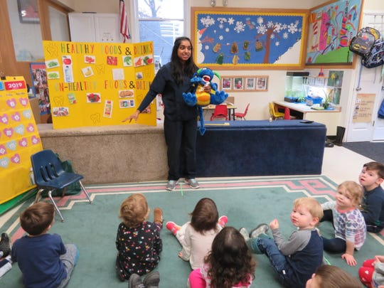 Shruti Patel with students atKangaroo Kids Child Care & Learning Center in Branchburg.