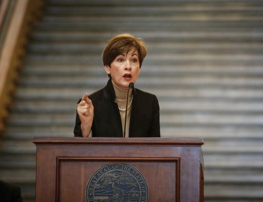 Iowa Gov. Kim Reynolds delivers a passionate speech about fighting to end abortions in Iowa during the 2019 Iowa Rally for Life on Thursday, Feb. 21, 2019, at the Iowa Capitol Building in Des Moines.
