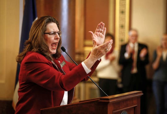 Iowa Representative Sandy Salmon (R-Janesville) encourages anti-abortion supporters to continue their fight to end abortion in Iowa during the 2019 Iowa Rally for Life on Thursday, Feb. 21, 2019, at the Iowa Capitol Building in Des Moines.