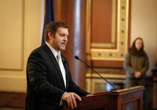 Iowa Senator Jake Chapman (R-Adel) talks about the battle at the state legislature to make abortions illegal during the 2019 Iowa Rally for Life on Thursday, Feb. 21, 2019, at the Iowa Capitol Building in Des Moines.