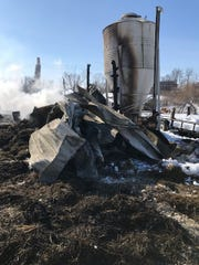 A fire destroyed the barn at Shangrala Horse and Animal Rescue near Norwalk on Thursday, Feb. 21, 2019.