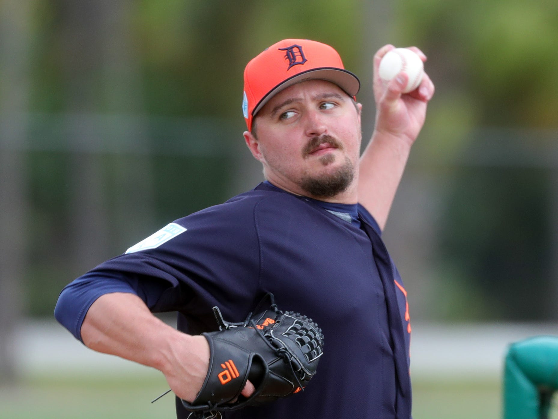 Tigers pitcher Blaine Hardy pitches during spring training Wednesday, Feb. 20, 2019, at Joker Marchant Stadium in Lakeland, Fla.