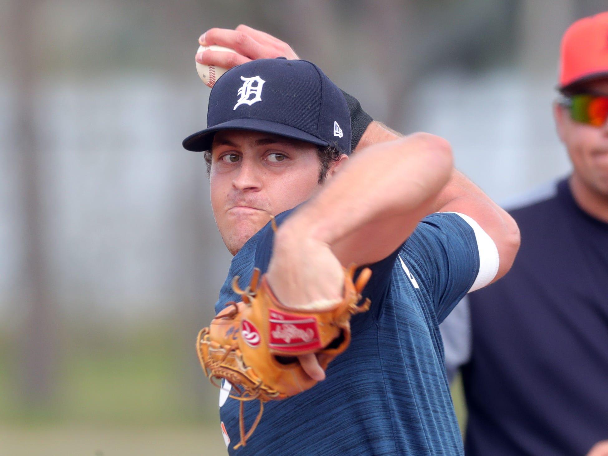 Tigers prospect Jason Foley throws batting practice during spring training on Wednesday, Feb. 20, 2019, at Joker Marchant Stadium in Lakeland, Fla.