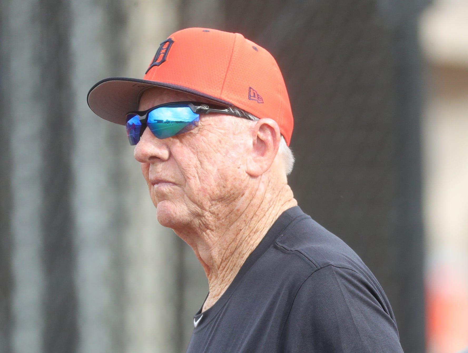 Tigers Hall of Famer Al Kaline watches batting practice during spring training Wednesday, Feb. 20, 2019, at Joker Marchant Stadium in Lakeland, Fla.