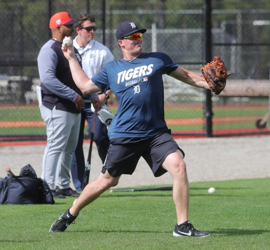 Tigers prospect Beau Burrows warms up during spring training on Wednesday, Feb. 20, 2019, at Joker Marchant Stadium in Lakeland, Fla.