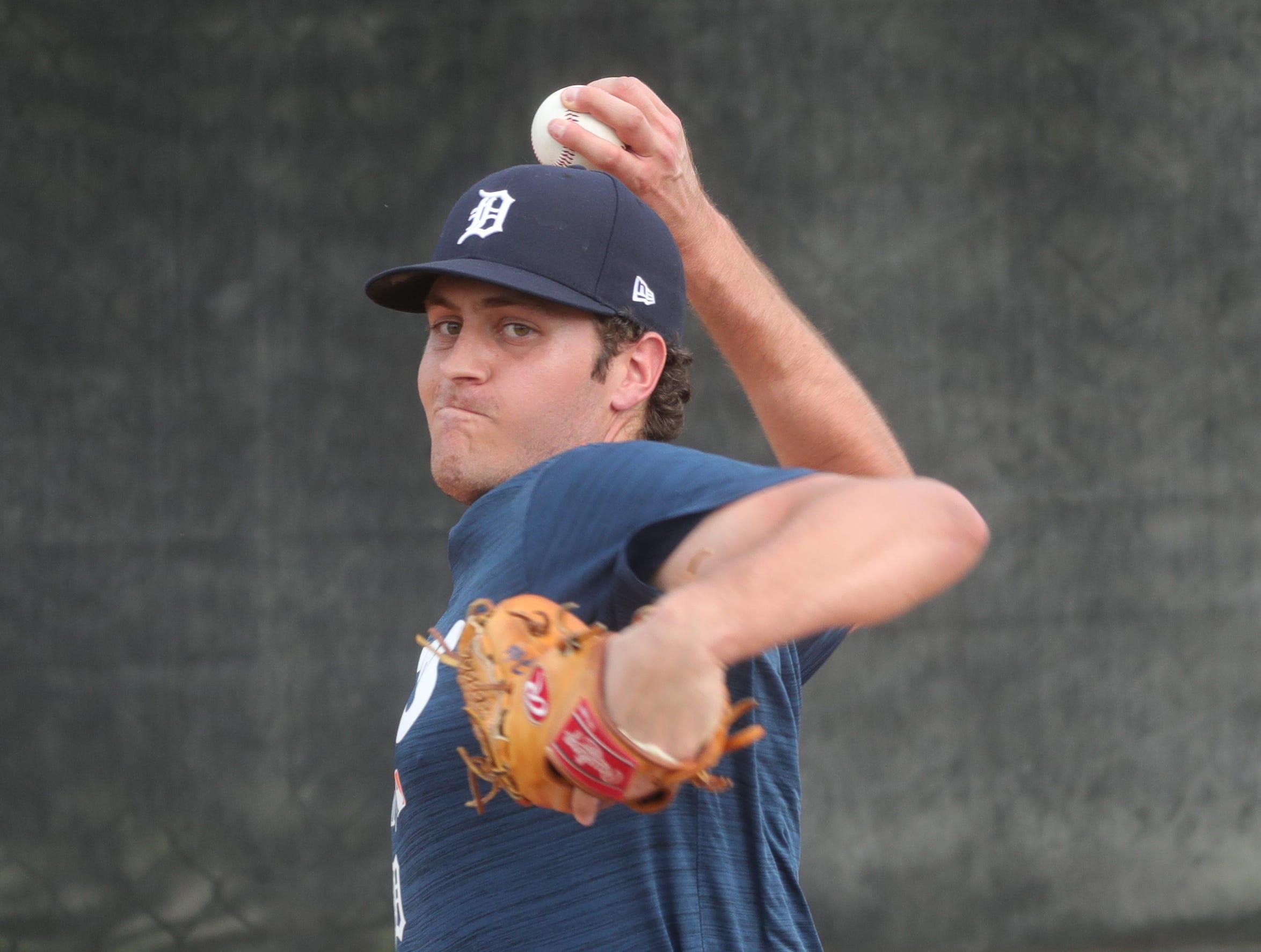 Tigers pitching prospect Jason Foley warms up during spring training Wednesday, Feb. 20, 2019, at Joker Marchant Stadium in Lakeland, Fla.