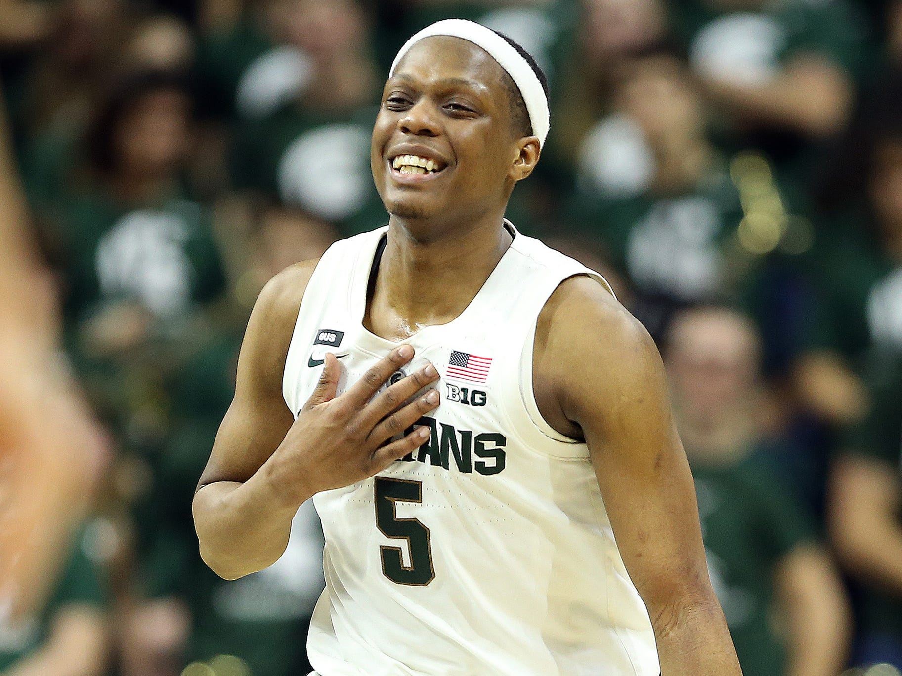 Michigan State guard Cassius Winston gestures during the second half of the 71-60 win over Rutgers on Wednesday, Feb. 20, 2019, at the Breslin Center.
