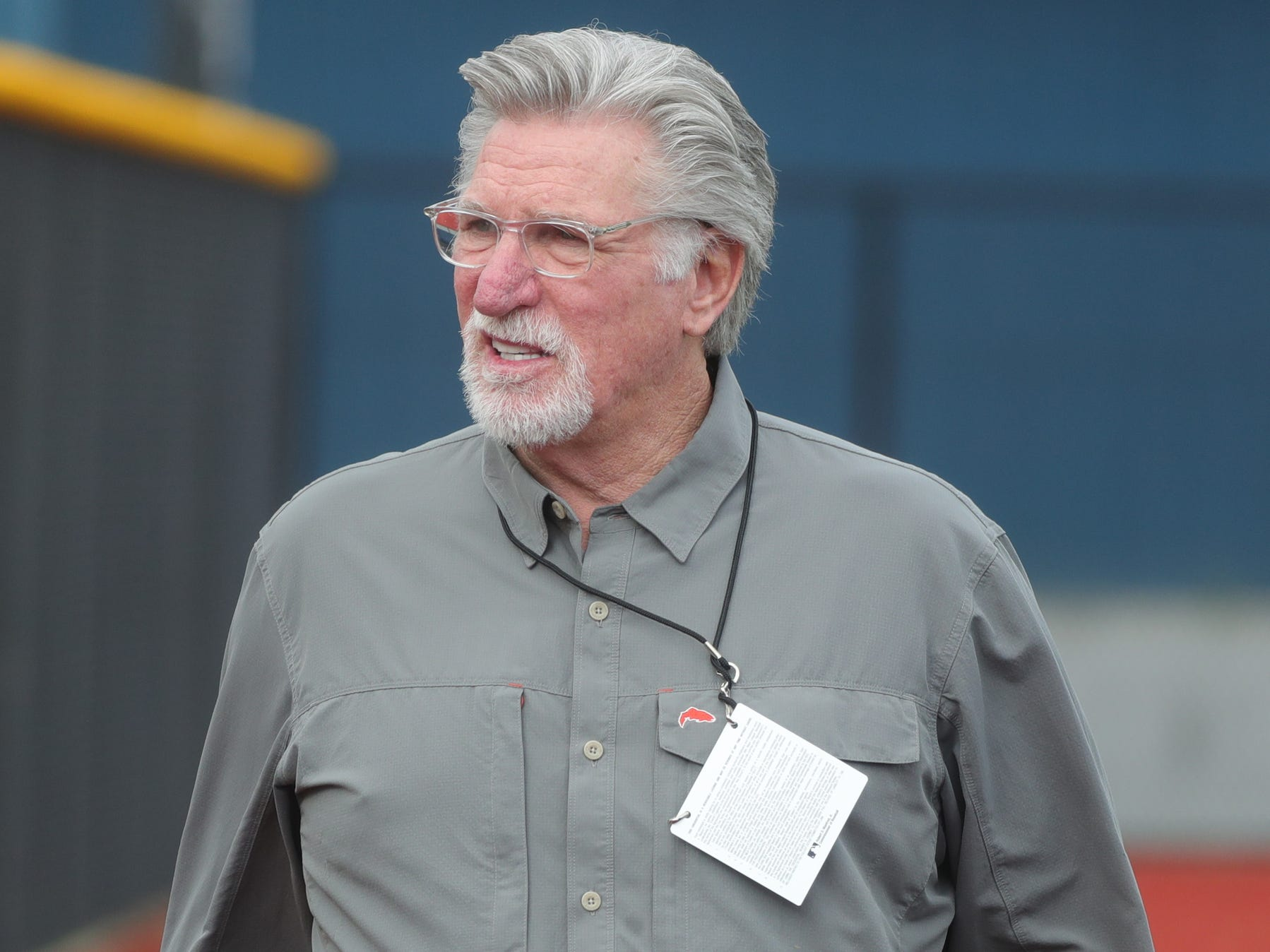 Tigers Hall of Famer Jack Morris walks to the fields during spring training on Wednesday, Feb. 20, 2019, at Joker Marchant Stadium in Lakeland, Fla.
