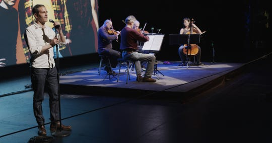 "Director Sam Green and the Kronos Quartet at a performance of ""A Thousand Thoughts."""