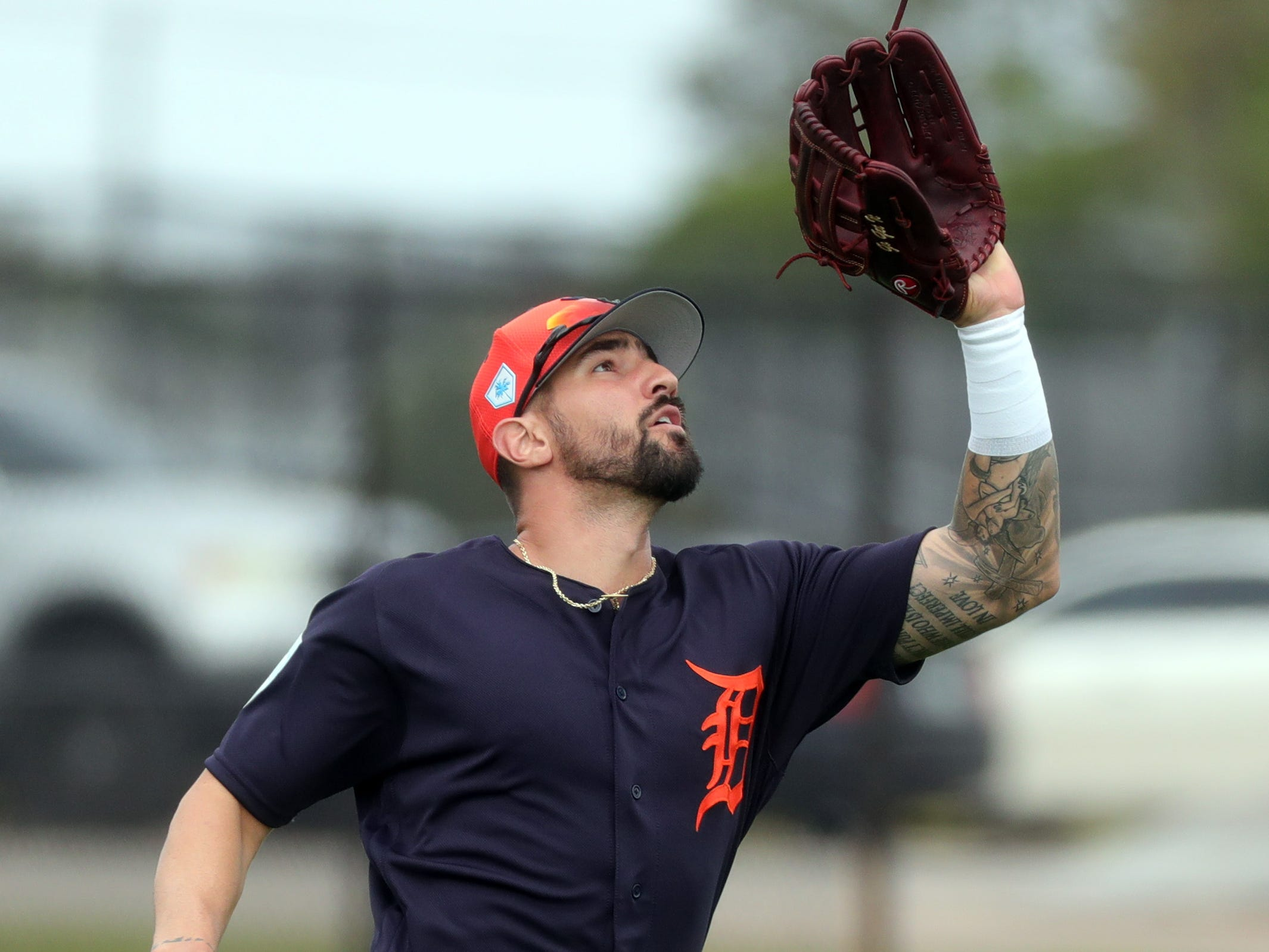Tigers outfielder Nicholas Castellanos catches a fly ball during spring training Wednesday, Feb. 20, 2019, at Joker Marchant Stadium in Lakeland, Fla.