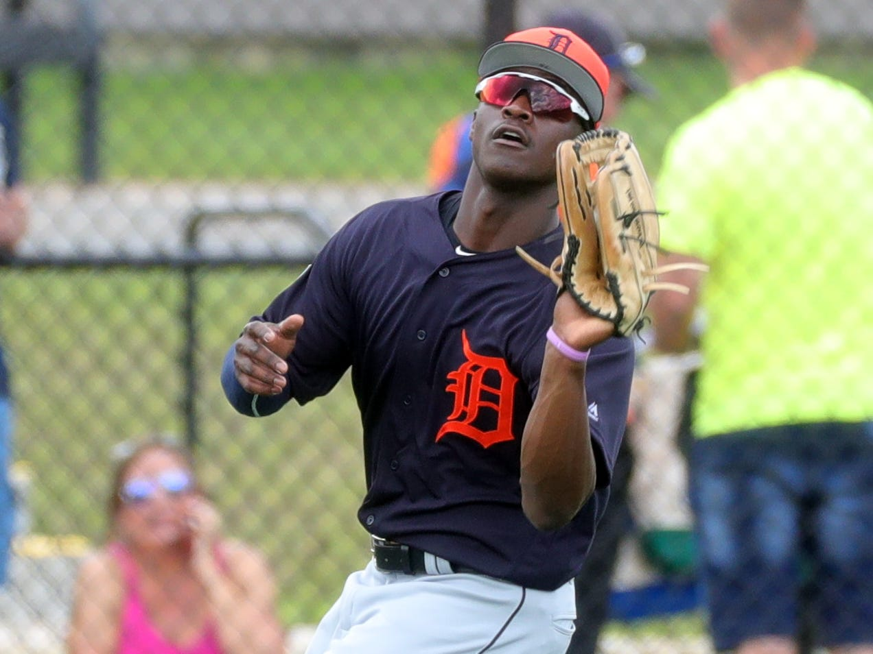 Detroit Tigers outfielder Daz Cameron catches a fly ball during spring training Wednesday, Feb. 20, 2019, at Joker Marchant Stadium in Lakeland, Fla.