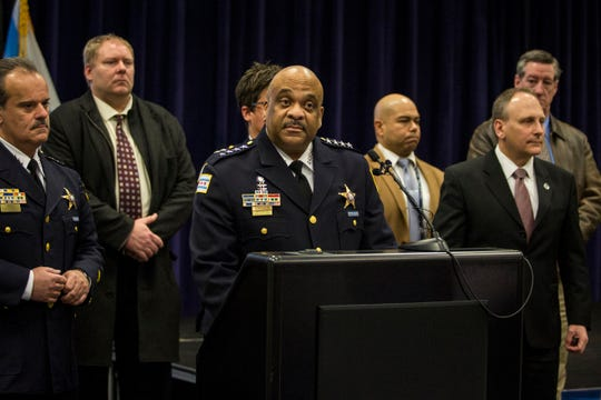 Chicago Police Supt. Eddie Johnson speaks during a press conference at CPD headquarters, Thursday, Feb. 21, 2019, in Chicago, after actor Jussie Smollett turned himself in on charges of disorderly conduct and filing a false police report.