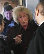 Historic Scott Mansion developer Joel Landy chats with guests.