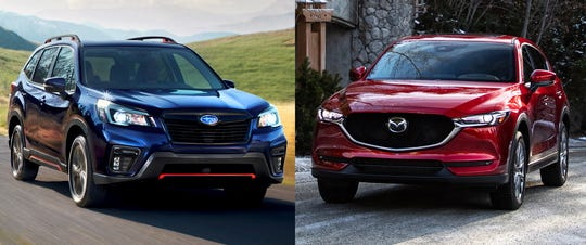 Henry Payne compares the 2019 Subaru Forester Sport, left, with the 2019 Mazda CX-5 Signature.