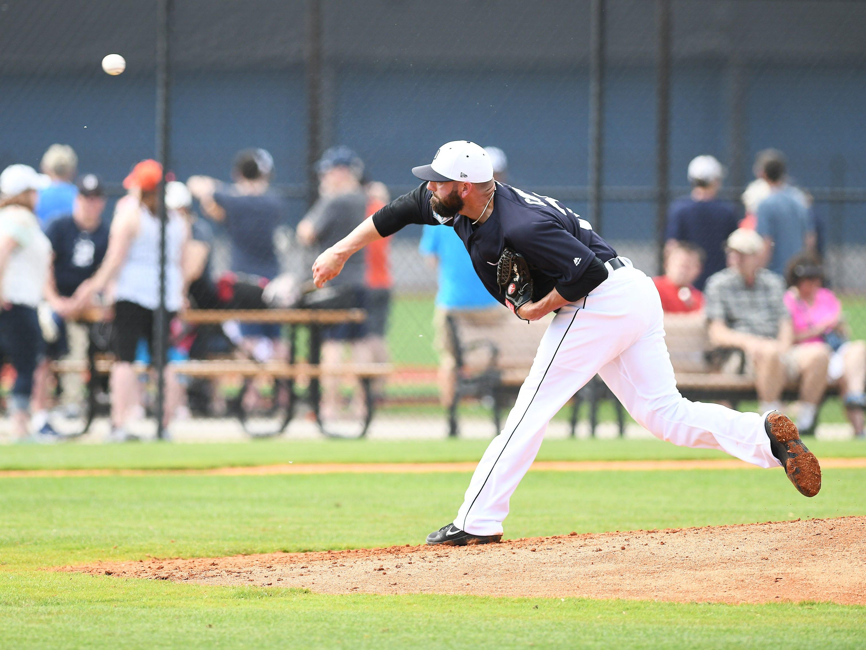Tigers pitcher Kaleb Cowart throws live batting practice.