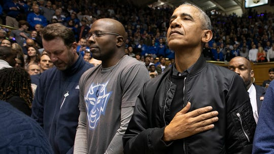 President Obama attends Wednesday's North Carolina-Duke game.