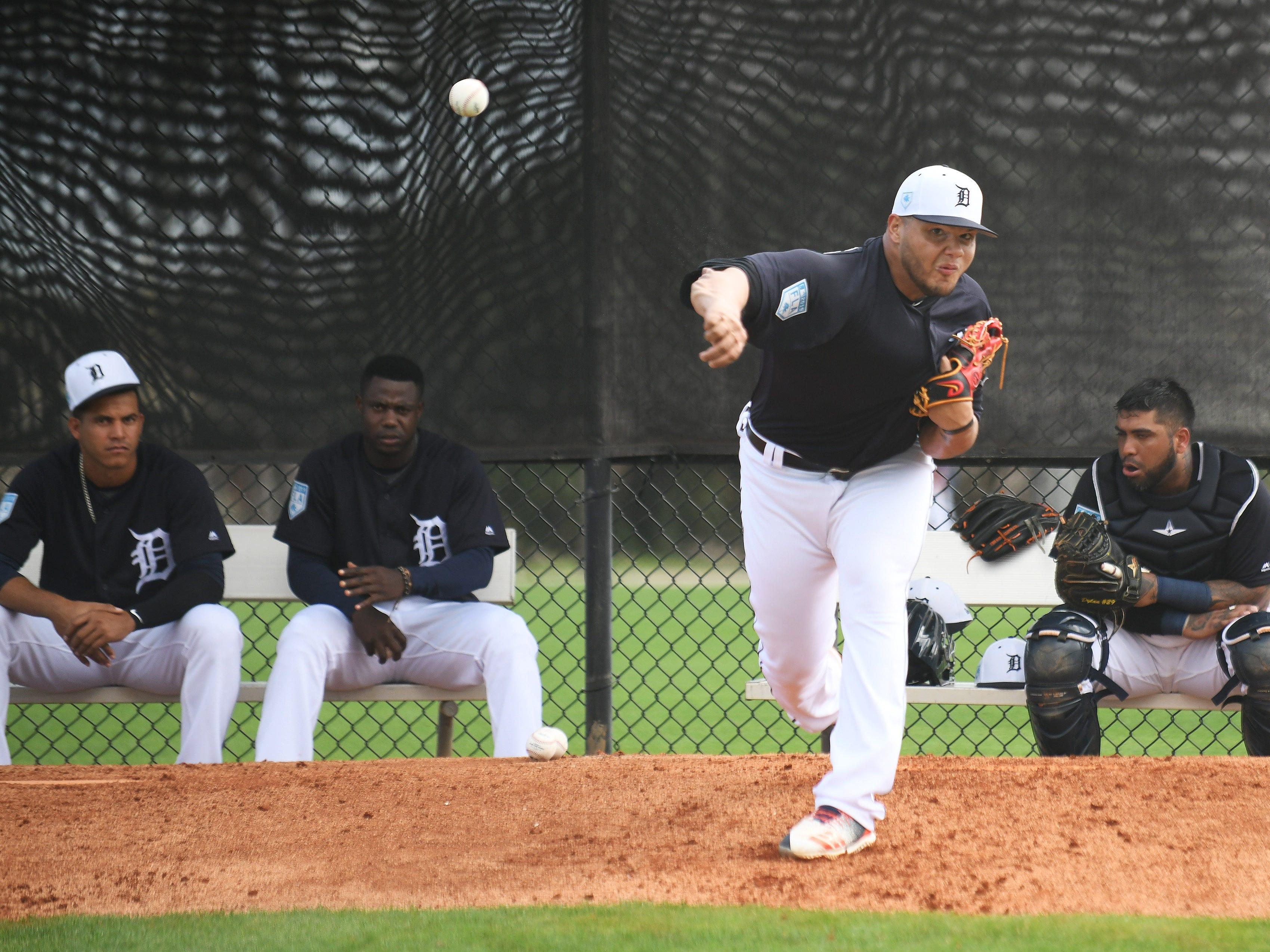 Tigers pitcher Joe Jimenez works in the bullpen.
