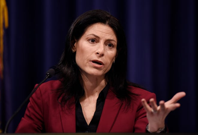 Attorney General Dana Nessel answers questions from reporters about the clergy abuse in the Catholic Church, MSU/Nassar and Flint Water Crisis during the press conference.