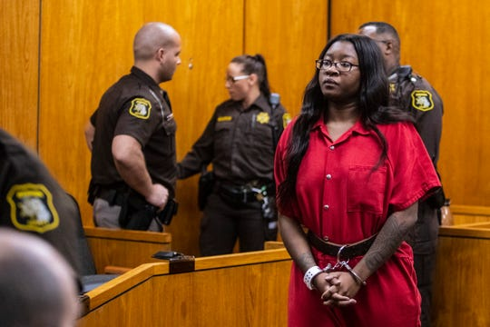 Kemia Hassel, 22, appears for a preliminary exam on a charge of first-degree premeditated murder at the Berrien County Courthouse in St. Joseph, Michigan on Wednesday, Feb. 20, 2019.