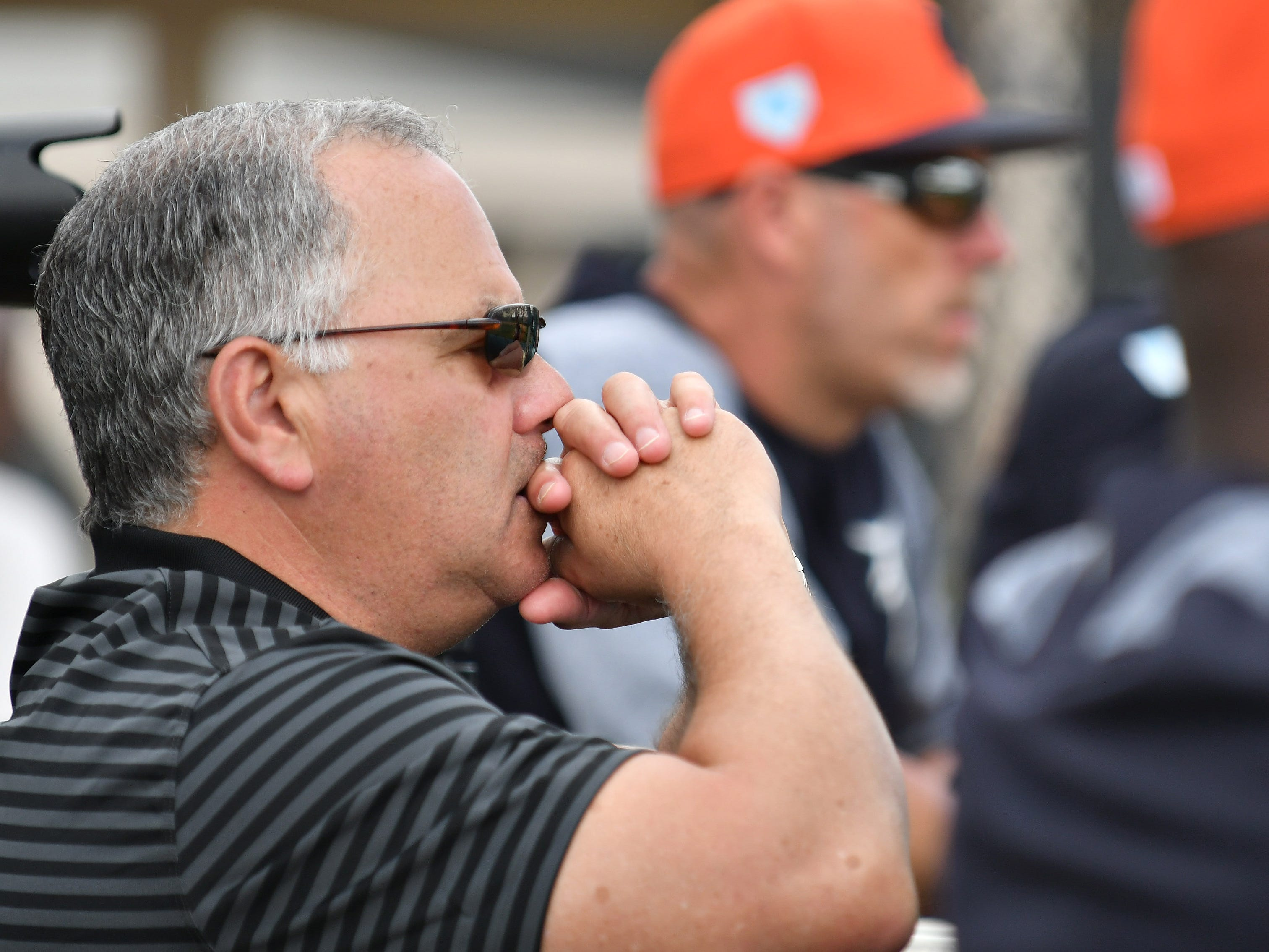 Tigers executive vice president of baseball operations and general manager Al Avila watches live batting practice.