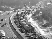 Traffic is backed up on I-96 near Milford Road due to a vehicle fire, officials said.