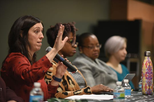 Danielle McGuire (from left), Wayne State; Tamara Butler, MSU Department of English, Kym Worthy, Prosecutor for Wayne County, and  Amanda Thomashow were some of the panelist for the 'Resisting Sexual Violence through a Racial Justice Lens: Towards Inclusive Transformation' on Wednesday, February 20, 2018 in Detroit .
