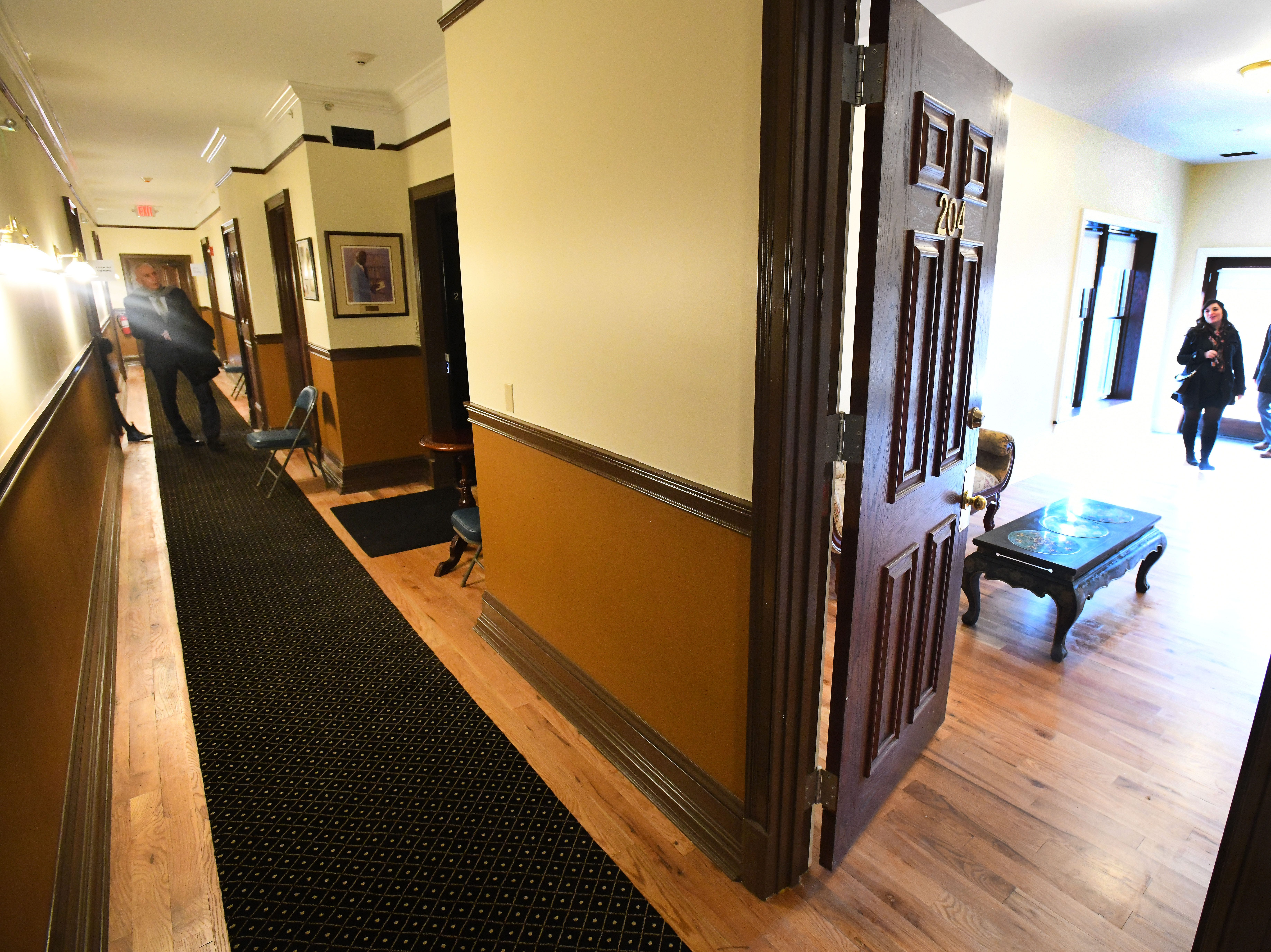 Hallway and 2nd floor apartment at the historic Scott Mansion.