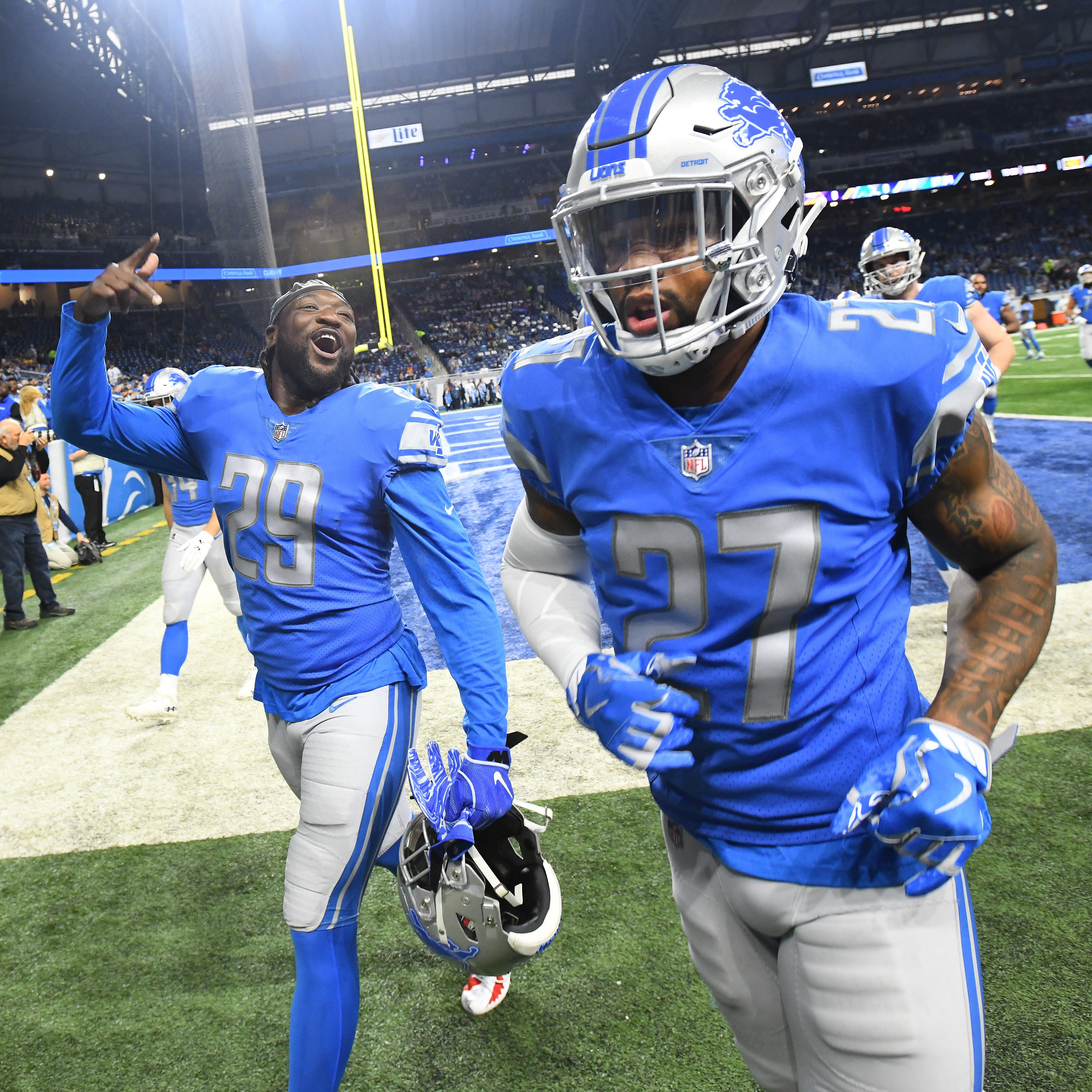 Former Lions safety Glover Quin (27) says he...