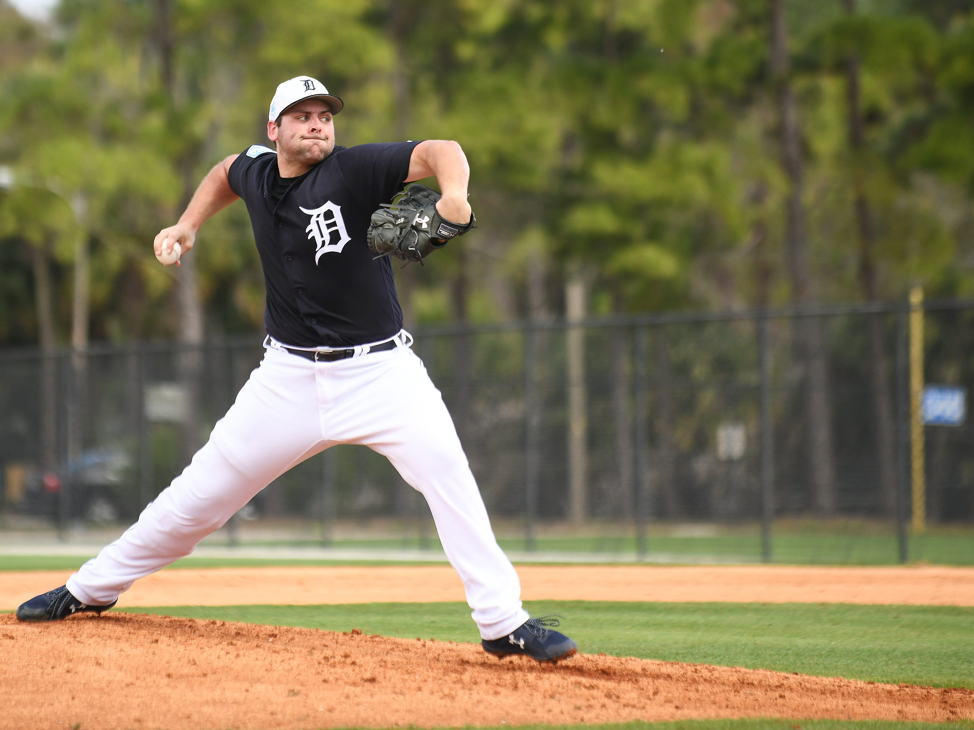 Tigers pitcher Michael Fulmer throws his first live batting practice.