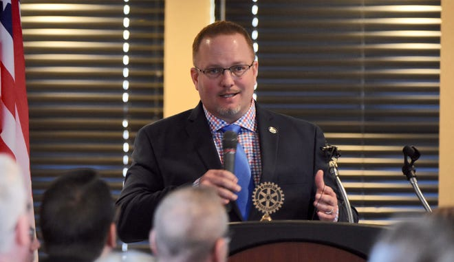 Taylor Mayor Rick Sollars speaks during his State of the City address on Wednesday, February 21, 2019 in Taylor, just two days after the FBI raided his home and Taylor City Hall.