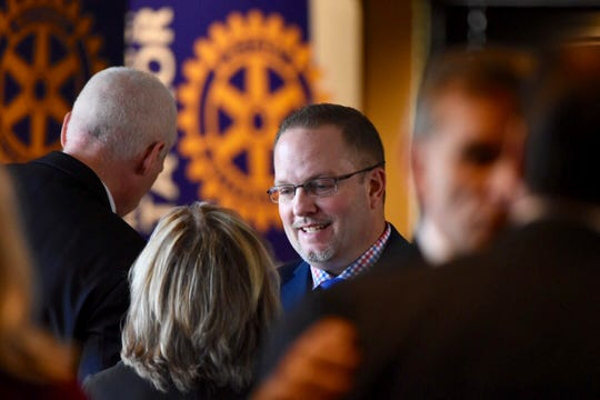 Taylor Mayor Rick Sollars (center)  greets community leaders before his State of the City address on Wednesday, February 21, 2019 in Taylor, two days after the FBI raided his home and Taylor city hall.