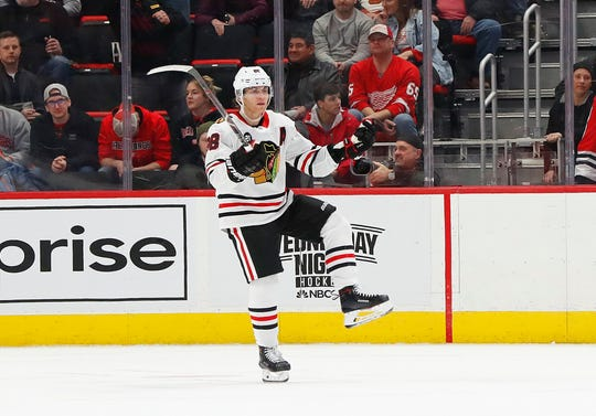 Chicago Blackhawks right wing Patrick Kane scores the overtime winner on Wednesday night.
